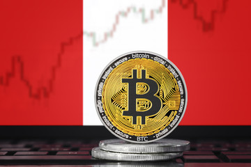 BITCOIN (BTC) cryptocurrency; coin bitcoin on the background of the flag of PERU