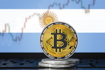 BITCOIN (BTC) cryptocurrency; coin bitcoin on the background of the flag of ARGENTINA