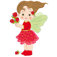 Fairy of roses on a white background