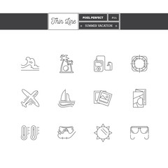 Line icons set of Vacation Summer Travel, Summer Holiday, objects and tools elements. Travel interface icons, Sea, Ice Cream, Map. Logo icons. Vector illustration. Logo icons vector illustration