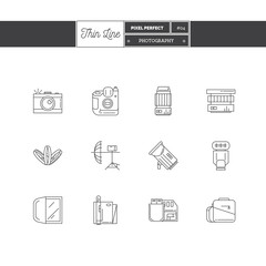 Line Icon Set of Photography objects and tools elements. Photo equipment logo icons. Vector illustration. Logo icons vector illustration