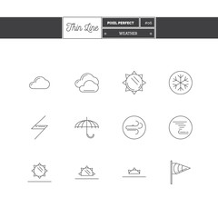 Line Icons Set of local current Weather conditions. Including temperature icons. Vector illustration. Logo icons vector illustration