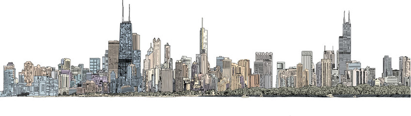 Hand drawn illustration. Color panorama of the Chicago skyline. Detailed ink look and feel with color Wall mural