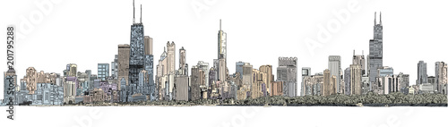 Wall mural Hand drawn illustration. Color panorama of the Chicago skyline. Detailed ink look and feel with color