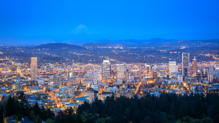 Portland Oregon city panorama from Pittock Mansion