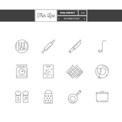 Line Icons Set of Kitchen Stuff objects. kitchen scales, rolling pin, cutlery, dishes, pan, pot, grater, salt and pepper. Logo icons vector illustration