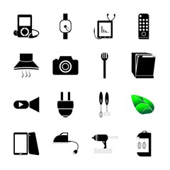 icon Technology with food, cinem, record, press and router