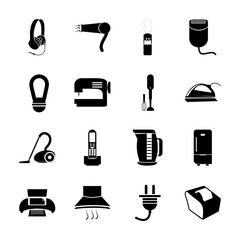 icon Electronic with vacuum cleaner, connection, audio, cleanup and cable