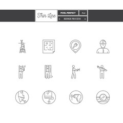 Line Icons Set of Repair objects. Repair tools, repair process objects. Icons for web and mobile app.