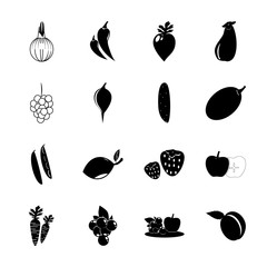 icon Fruits And Vegetables with perishable, mango tree, green plum, vintage and cocuber