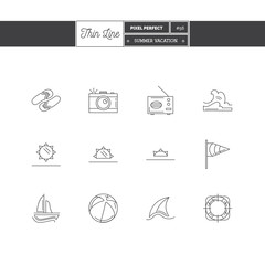 Line Icons Set of Vacation Summer Travel, Summer Holiday, objects and tools elements. Travel Line Icons, Sea. Logo icons. Vector illustration. Logo icons vector illustration
