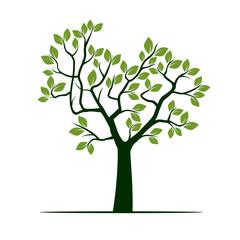 Shape of spring green Tree. Vector Illustration.