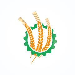 Natural Wheat Organic Logo Template Design Vector