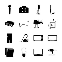icon Technology with light, domestic, plug, appliance and hair iron