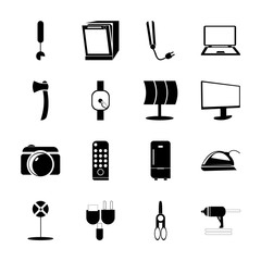 icon Technology with accounting, connectors, outline, education and instrument