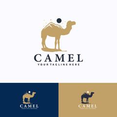 Camel Logo Template Design. Creative Vector Emblem, for Icon or Design Concept.