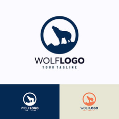 Wolf Logo Template Design. Creative Vector Emblem, for Icon or Design Concept.