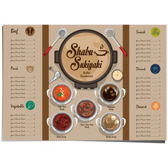 menu shabu sukiyaki restaurant template design graphic objects