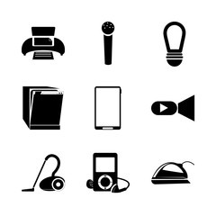 icon Technology with telephone, lamp, elecronic, device and mp3