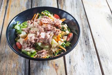Tuna Salad, healthy food .In a black bowl