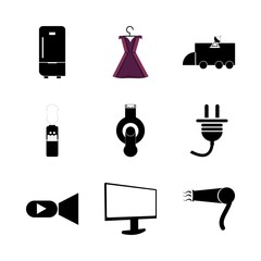 icon Electronic with hair dryer, machine, television, device and women dress