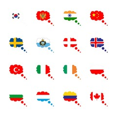 icon Flag with china flag, flag of columbia, turkey, italy and montenegro flag