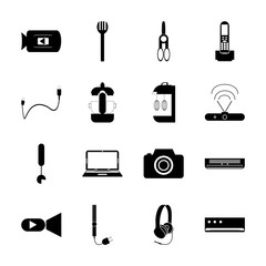 icon Technology with vector, charge, print, hair iron and scissors
