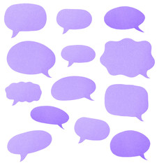 Purple Paper Cut Outs of Speech Bubbles