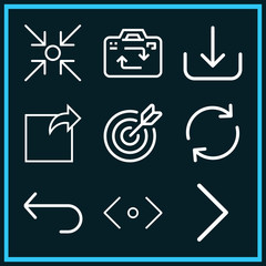 Set of 9 arrows outline icons