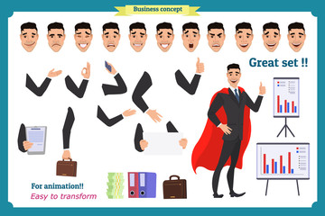 Set of super businessman character poses, gestures,actions, body elements. Isolated on white. Man in suit,cloak standing, Cartoon flat-style illustration. Business people.