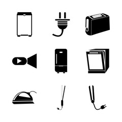 icon Electronic with hair salon, video camera, technology, breakfast and coolness