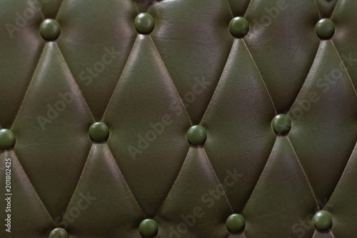 Luxurious Dark Green Leather Sofa Texture Background Leather