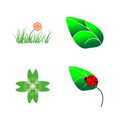 icon Nature with nature, clover plant, season, decoration and green