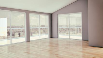 Modern bright interiors room 3D rendering illustration