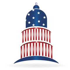 Cupola dome with USA American flag icon logo vector image