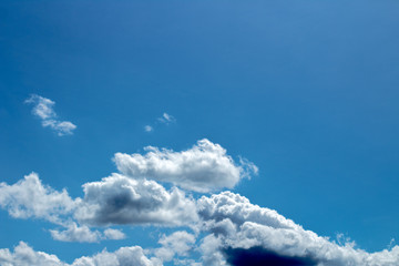 Fluffy white clouds in a blue sky