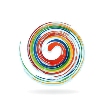 Palette of colors in a swirly waves with sparkles logo