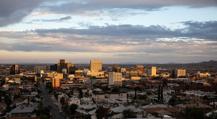 View of downtown El Paso, Texas at sundown