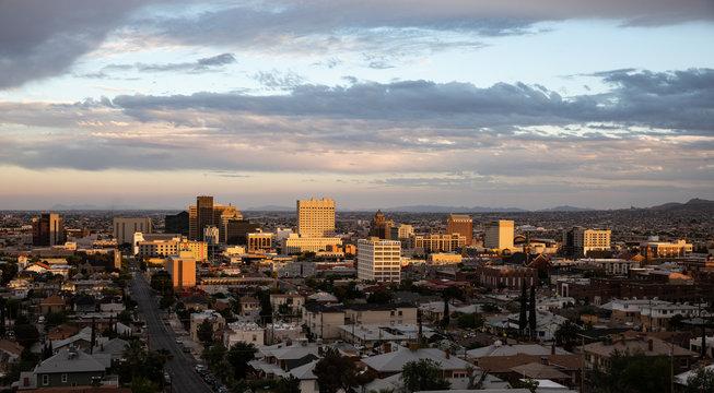 View of downtown El Paso, Texas at sundown