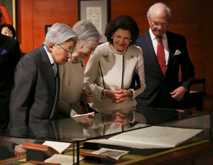 Sweden's King Carl XVI Gustaf, Queen Silvia, Japan's Emperor Akihito and Empress Empress Michiko visit Special Exhibition 'The Art of Natural Science in Sweden' at the JP Tower Museum Intermediatheque in Tokyo
