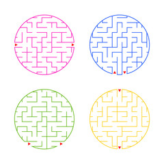 Round labyrinth. A set of four options. Simple flat vector illustration isolated on white background.