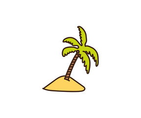 Palmtree illustration. Vector hand drawn doodle of a tropical palm tree in the sand. Island beach icon with a exotic tree