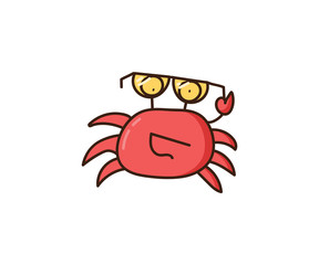 Happy smiling cool crab with sunglasses. Vector doodle illustration concept. Beach summer and sea hand drawn cartoon character