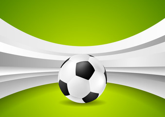 Wavy football abstract background with soccer ball
