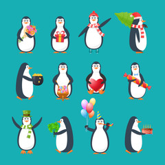 Set, collection, beautiful funny antarctic birds penguins in different holidays.