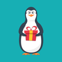 Funny penguin, Antarctic bird, with large gift and smile.