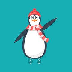 Funny penguin, Antarctic bird, in hat, scarf, on skates.