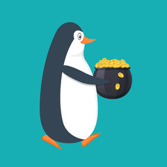 Funny penguin, Antarctic bird, with pot filled with gold coins.