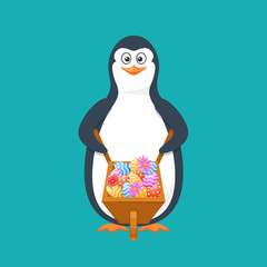 Funny penguin, Antarctic bird, with cart, filled easter eggs, flowers.