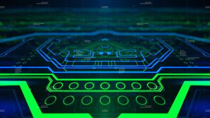 Green Printed Circuit Board pcb. Background for computer graphic website internet and business. Blue abstract digital backdrop 3d illustration Technology.